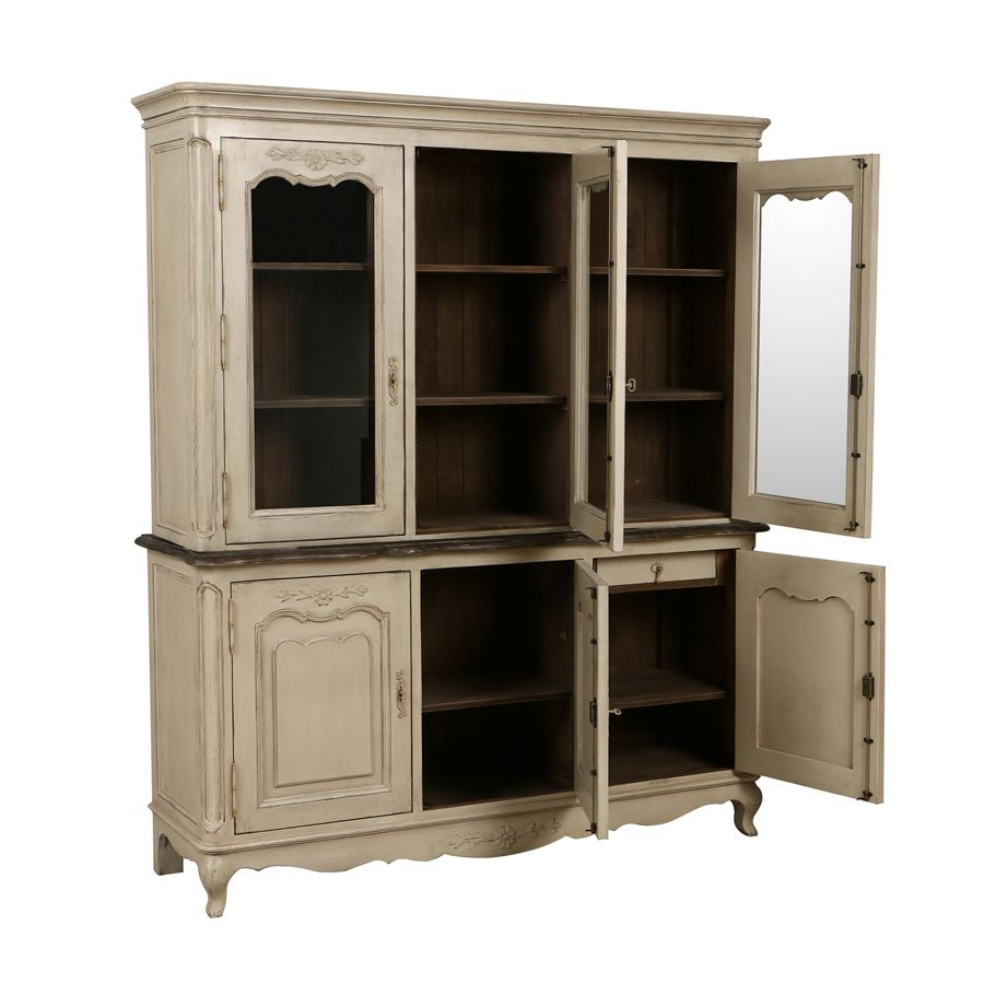 Buffet vaisselier 3 portes vitrées en pin - Château