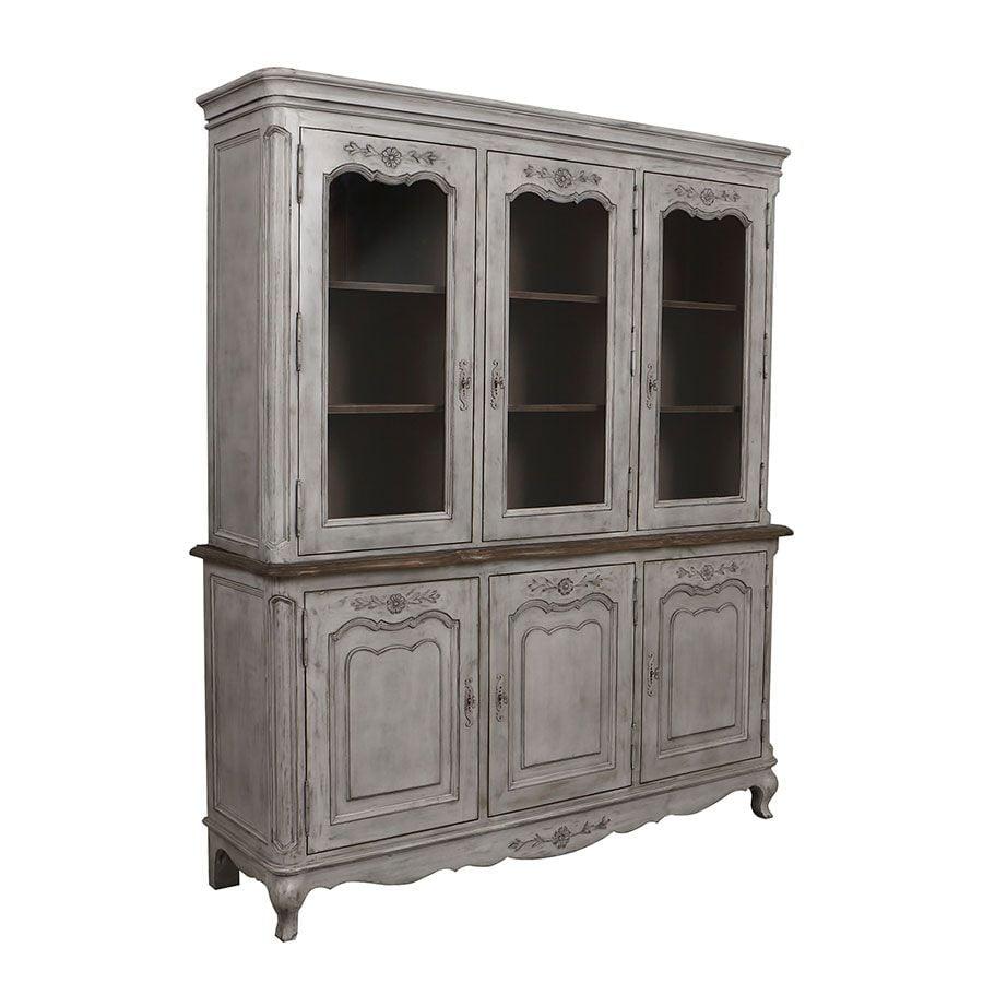 Buffet vaisselier 3 portes vitrées en pin gris argenté - Château