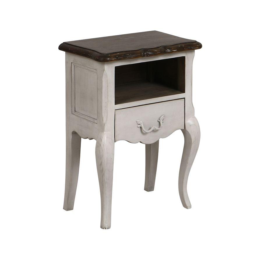 Table de chevet 1 tiroir en pin blanc opaline vieilli - Château