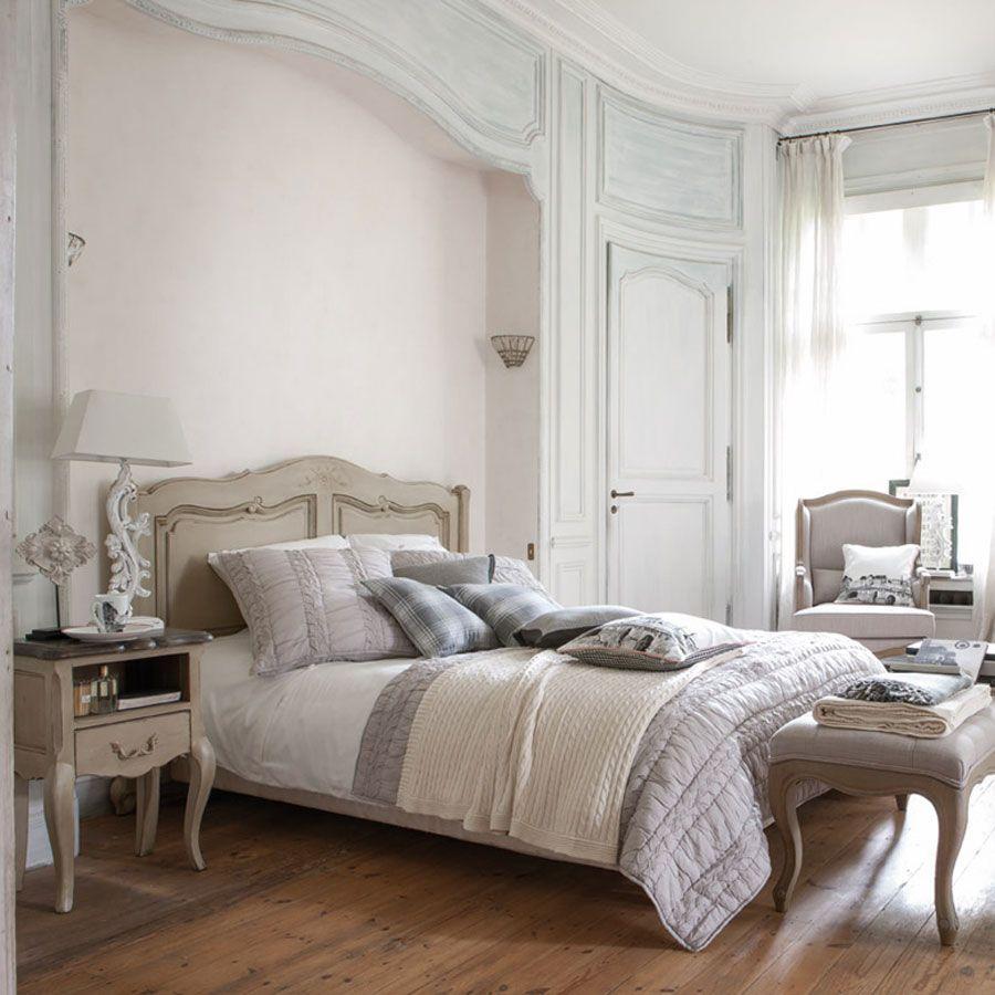 Lit 180x200 en pin grège vieilli - Château