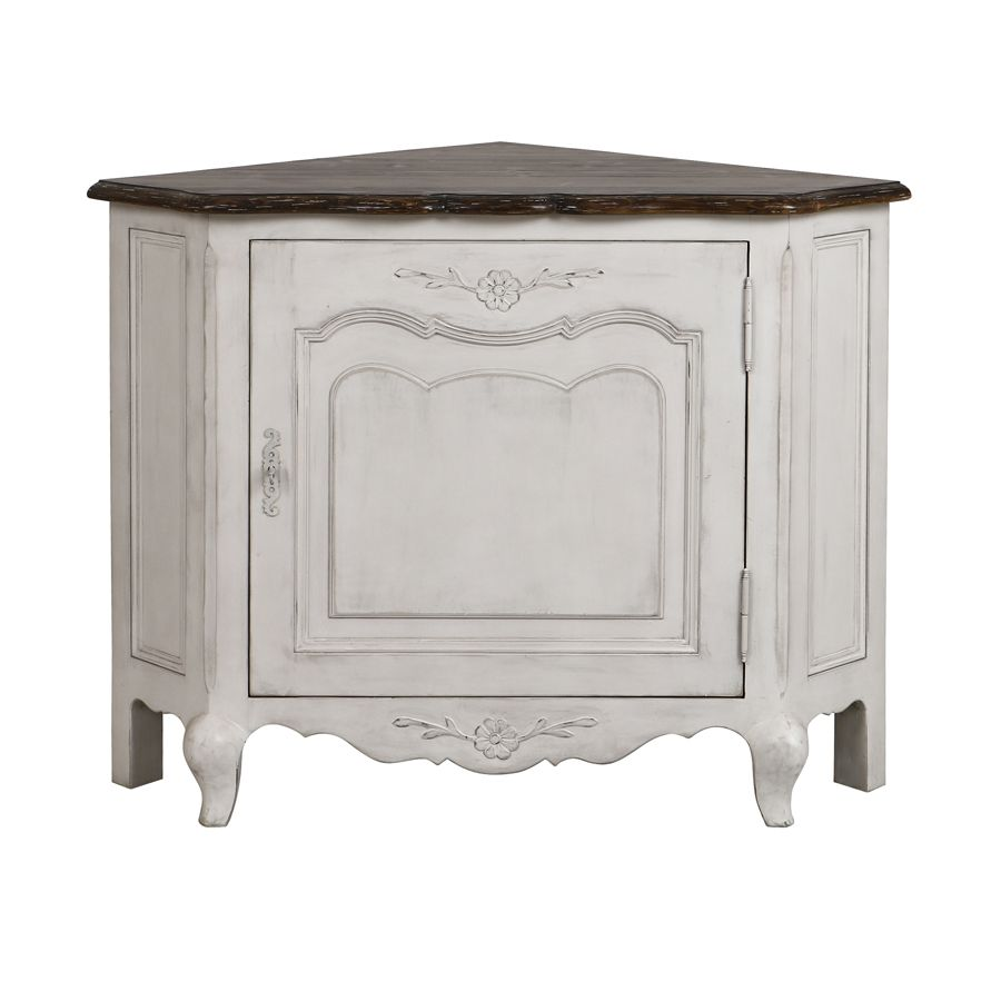 Encoignure basse en bois blanc opaline vieilli - Château