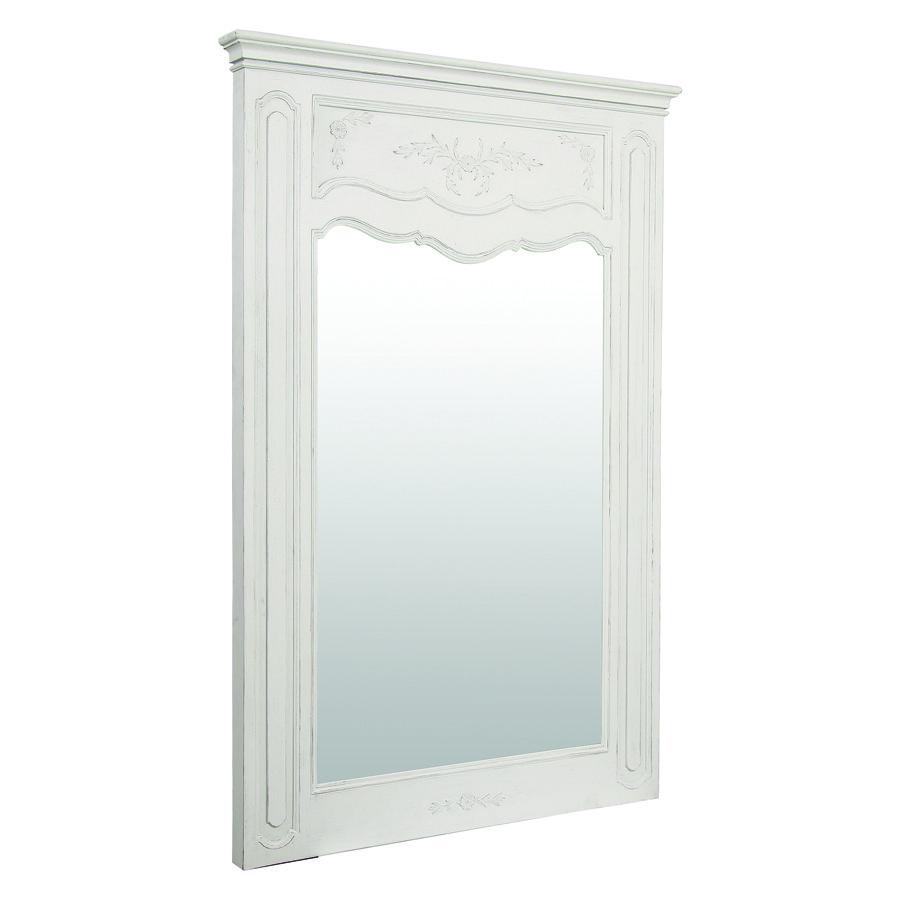 Grand miroir trumeau rectangulaire en pin blanc - Château