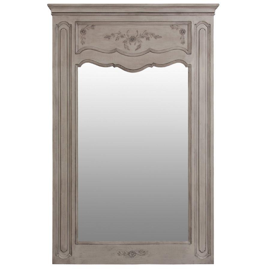 Grand miroir trumeau rectangulaire en pin gris - Château