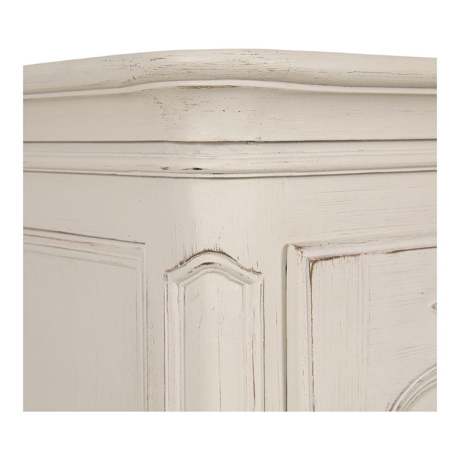 Armoire penderie bonnetière 1 porte en pin blanc vieilli - Château