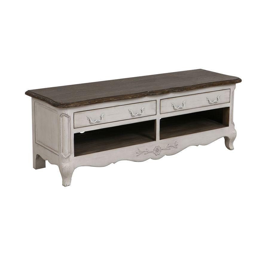 Meuble TV 2 tiroirs en pin blanc opaline vieilli – Château ...