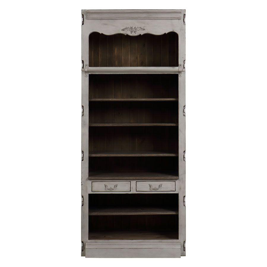 Bibliothèque modulable 2 tiroirs en pin gris argenté - Château
