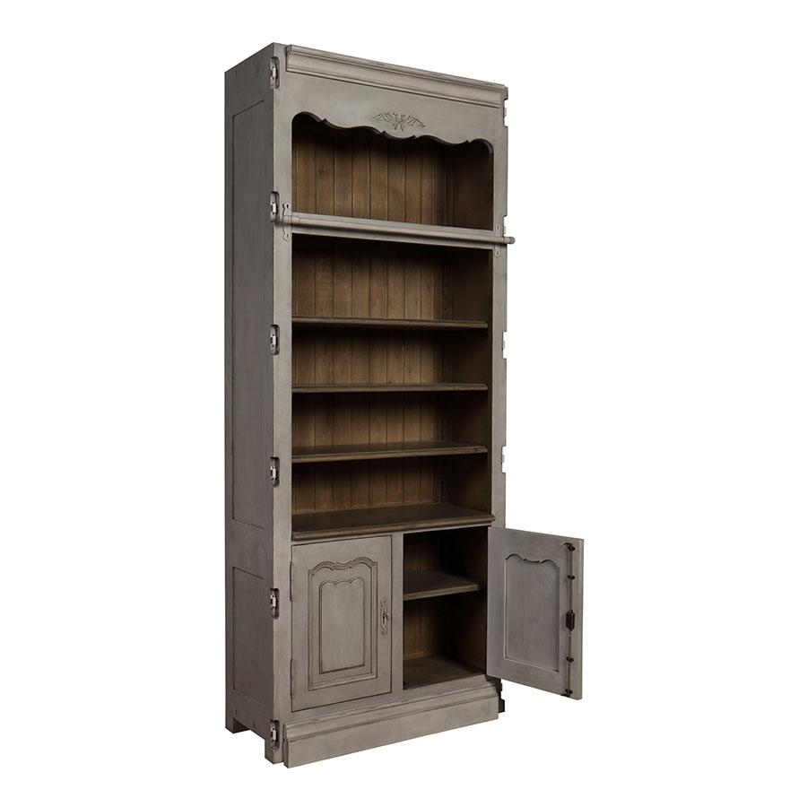 Bibliothèque modulable 2 portes en pin gris argenté - Château