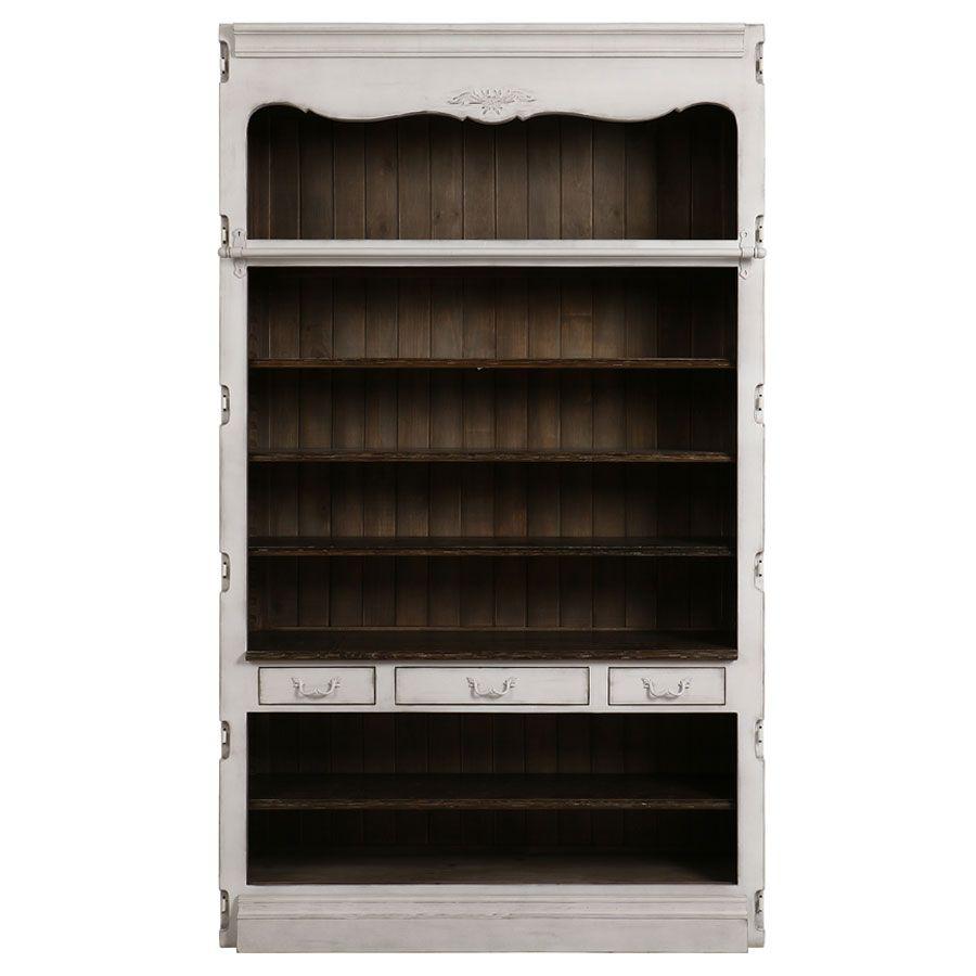 Bibliothèque blanche modulable 3 tiroirs en pin - Château