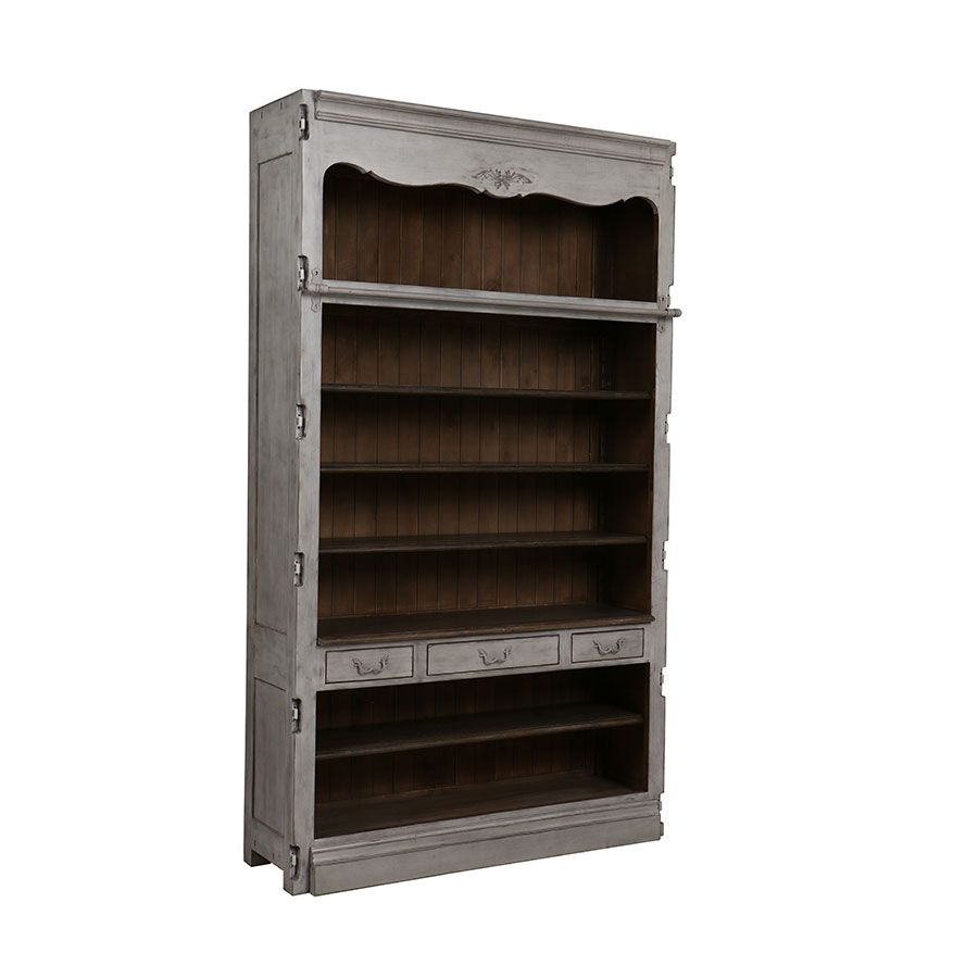 Bibliothèque modulable 3 tiroirs en pin gris argenté - Château
