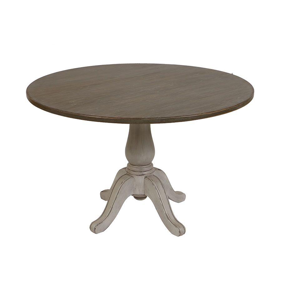 Table ronde en pin massif gris argenté 4 personnes - Château