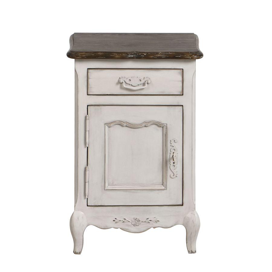 Table de chevet 1 tiroir 1 porte en pin blanc opaline vieilli - Château