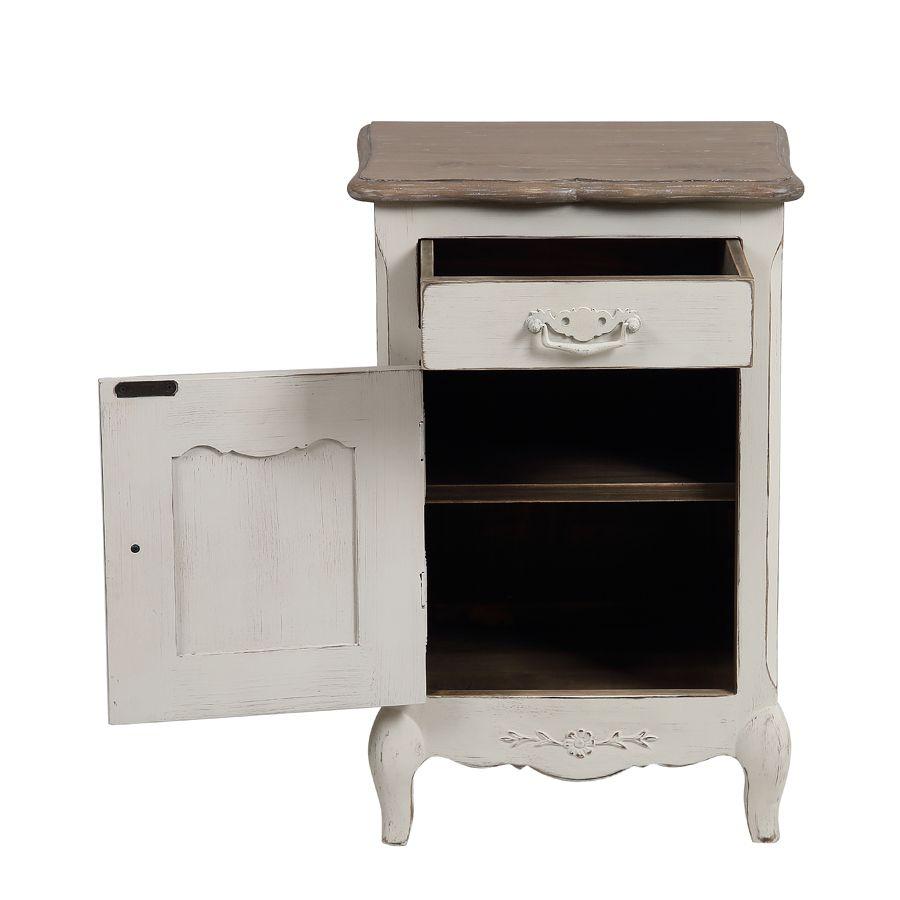 Table de chevet 1 tiroir 1 porte en pin blanc vieilli - Château