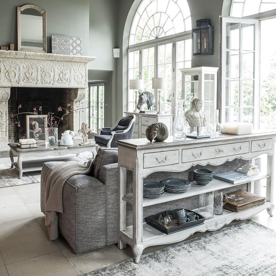 Console 3 tiroirs en pin massif gris argenté - Château
