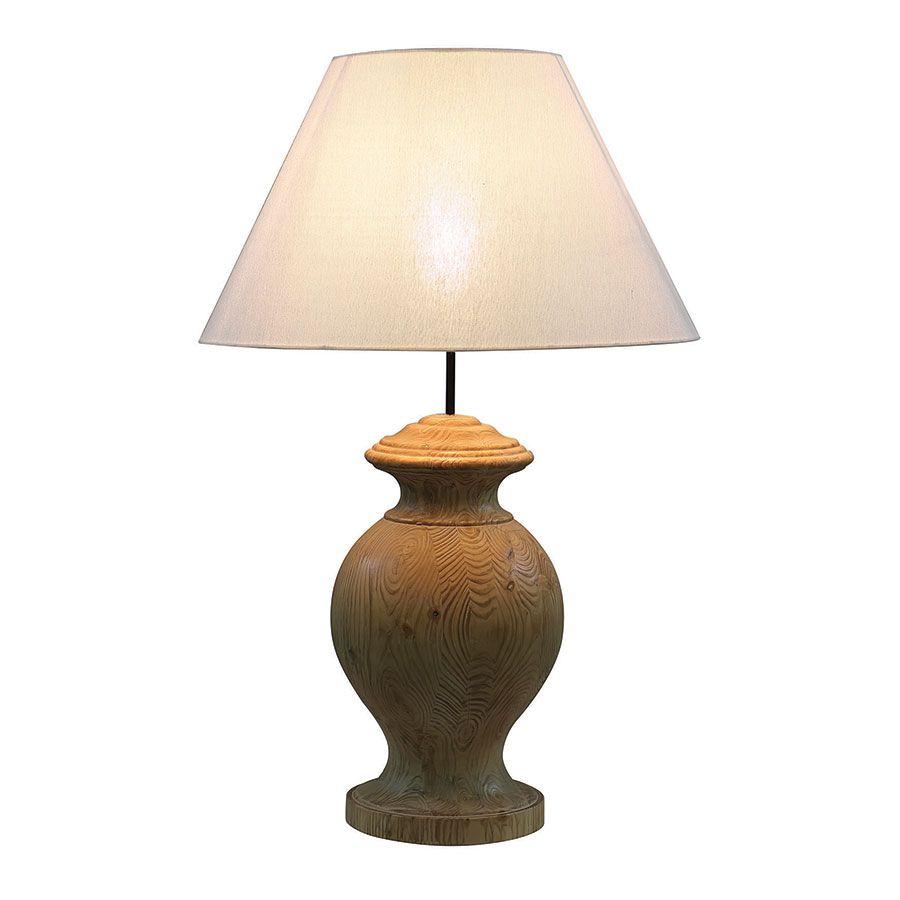 Lampe sur pied en bois naturel et lin