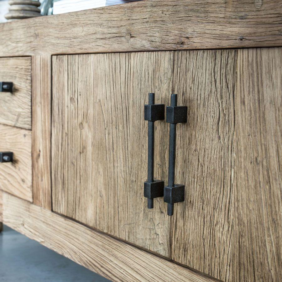 Buffet bas industriel 2 portes 4 tiroirs en orme recyclé - Transition