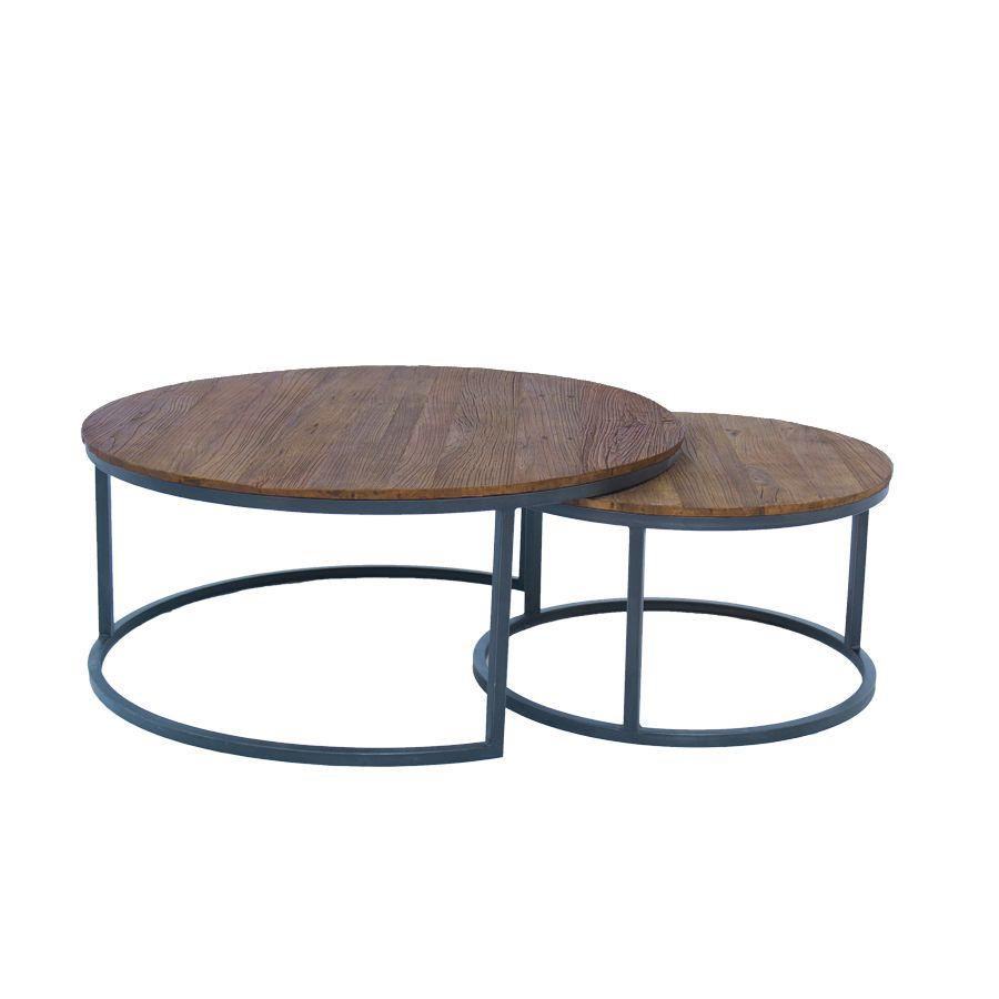 Tables basses gigognes industrielles en orme et métal - Transition