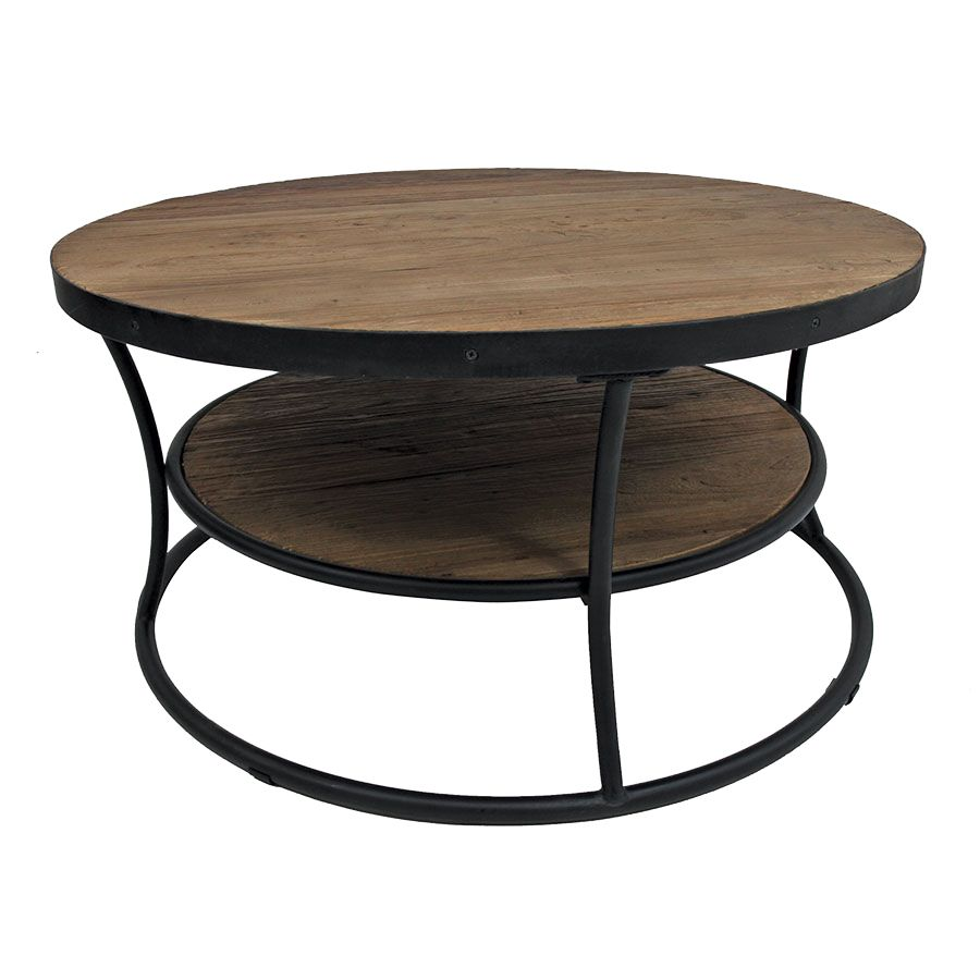 Table basse ronde industrielle en orme recyclé - Transition