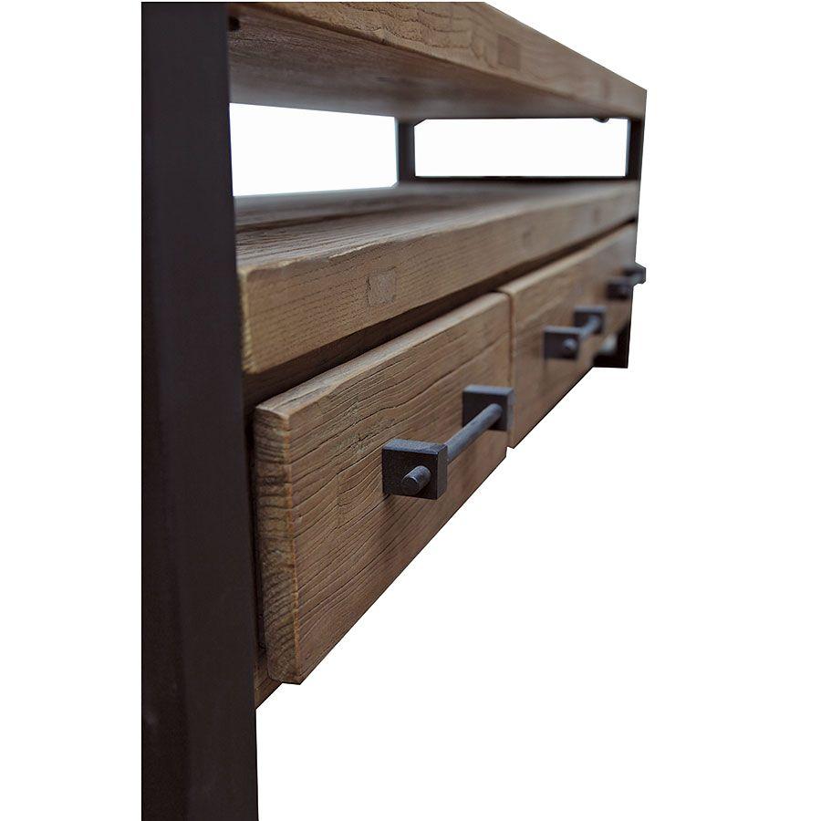 Meuble TV industriel 3 tiroirs en orme recyclé - Transition