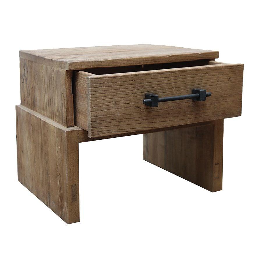 Table de chevet industriel 1 tiroir en orme recyclé - Transition