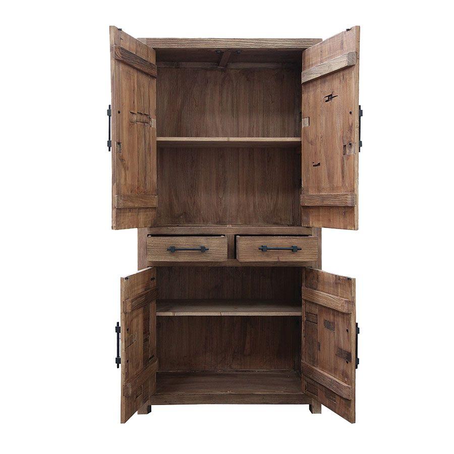 Bibliothèque industrielle 4 portes 2 tiroirs en orme recyclé - Transition