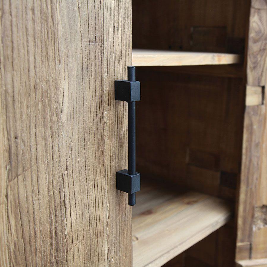 Armoire industrielle 2 portes 2 tiroirs en orme recyclé - Transition
