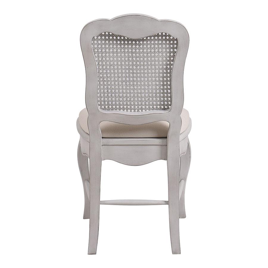 Chaise cannée assise tissu blanc opaline - Château