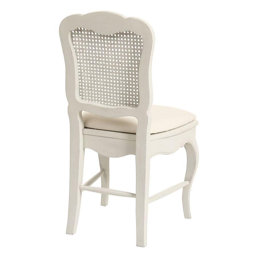 Chaise cannée assise tissu blanc vieilli - Château