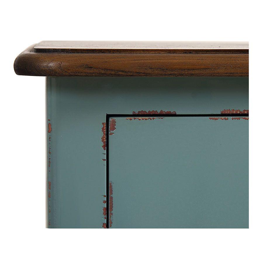 Table de chevet 1 tiroir en épicéa nuage de bleu glossy et plateau frêne