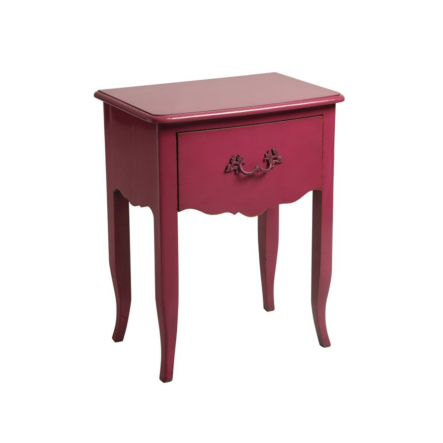 Table de chevet rose 1 tiroir en épicéa