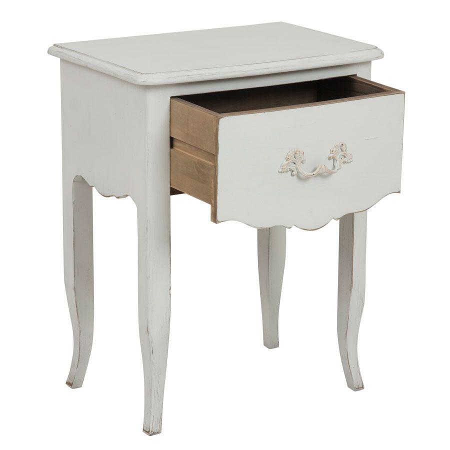 Table de chevet 1 tiroir en épicéa blanc mat