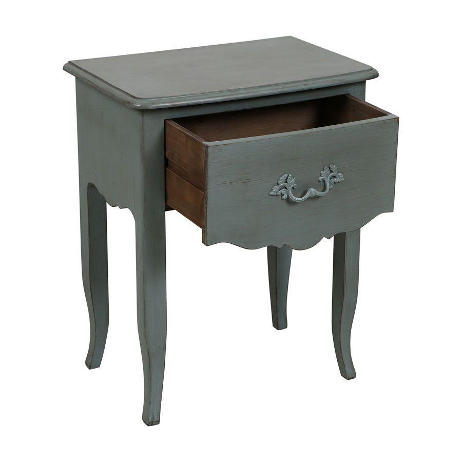 Table de chevet 1 tiroir en épicéa bleu mat