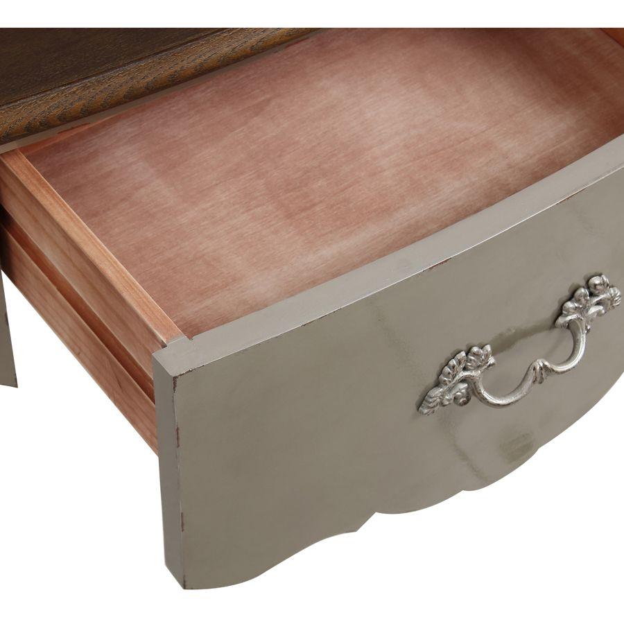Console grise plateau en bois 3 tiroirs en épicéa