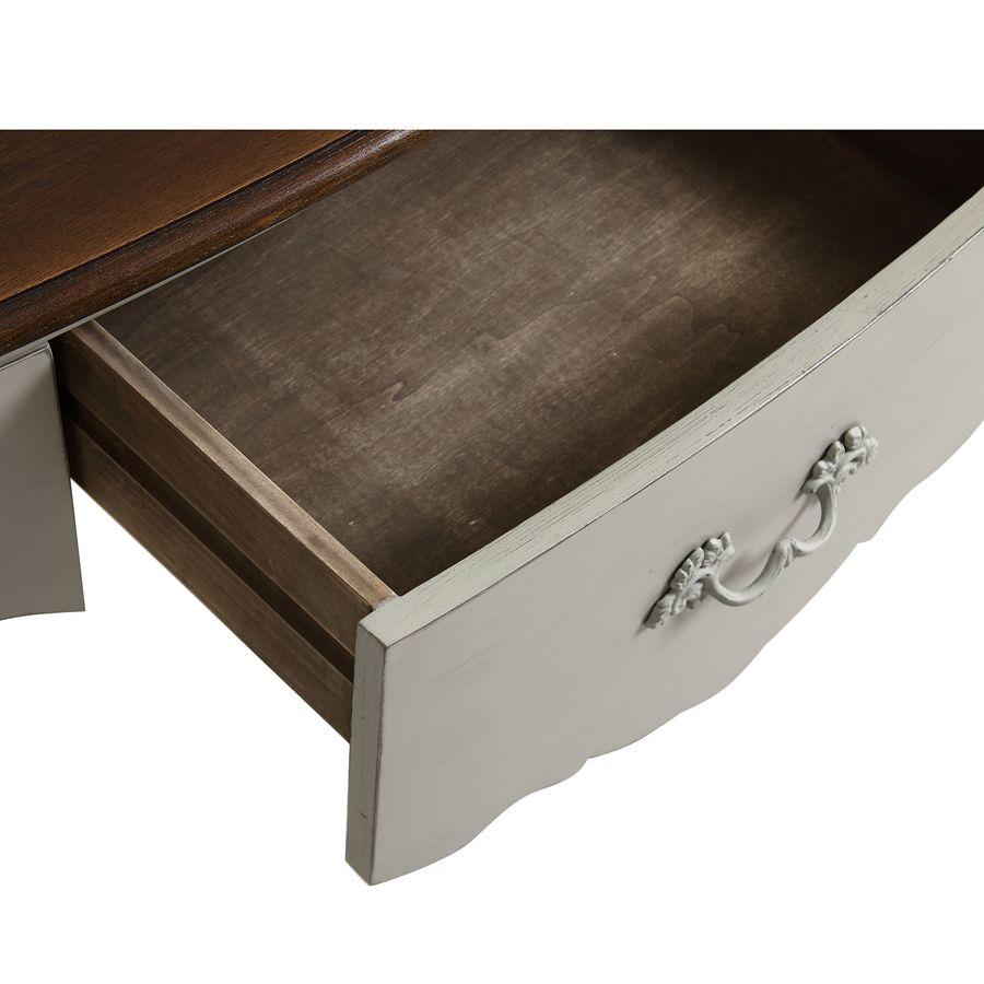 Console grise 3 tiroirs en épicéa