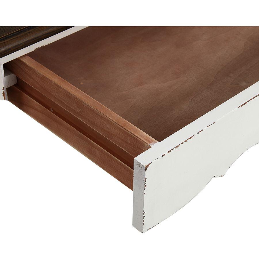 Bureau 1 tiroir en épicéa blanc nacré