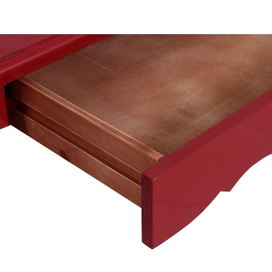 Bureau 1 tiroir en épicéa rouge groseille