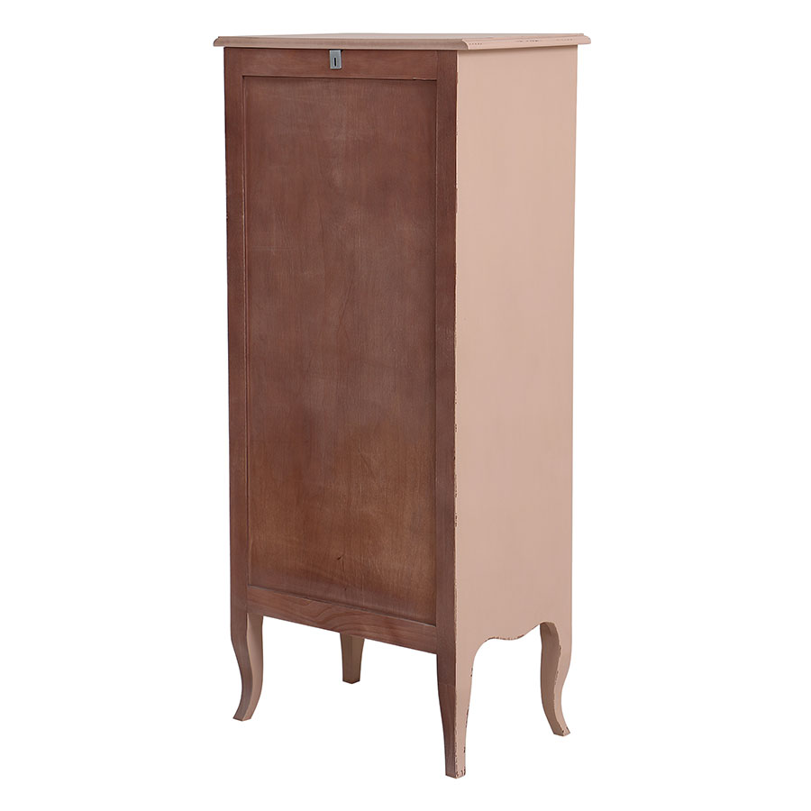 Commode semainier rose poudré 5 tiroirs