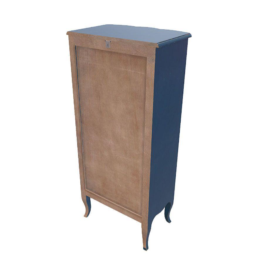 Commode chiffonnier Louis XV 5 tiroirs en pin bleu indigo