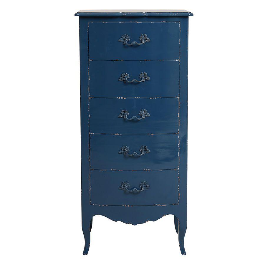 Commode chiffonnier bleu saphir 5 tiroirs