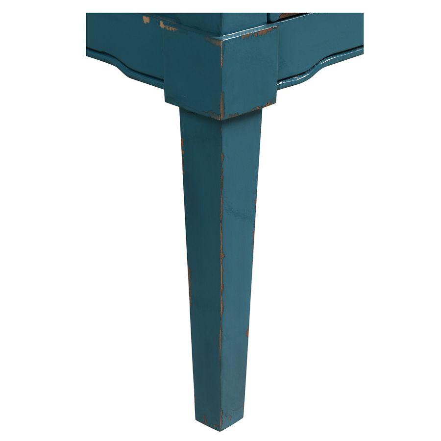 Commode chiffonnier bleu turquoise 6 tiroirs