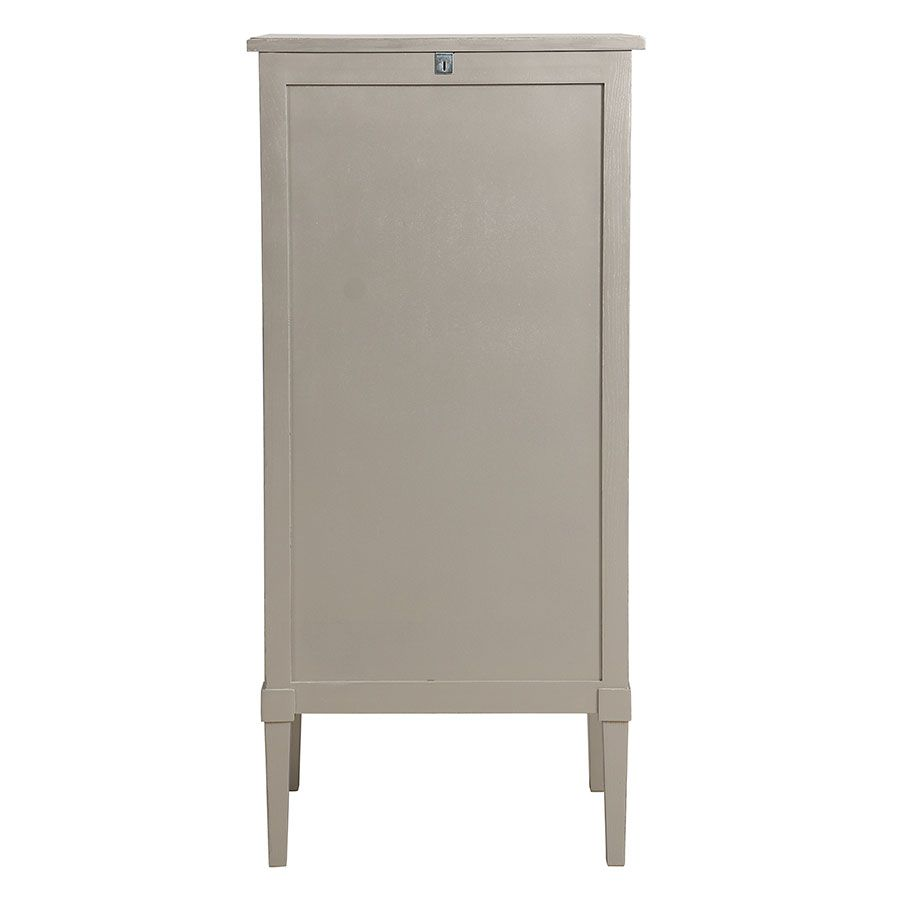 Commode chiffonier gris fumé glossy 6 tiroirs