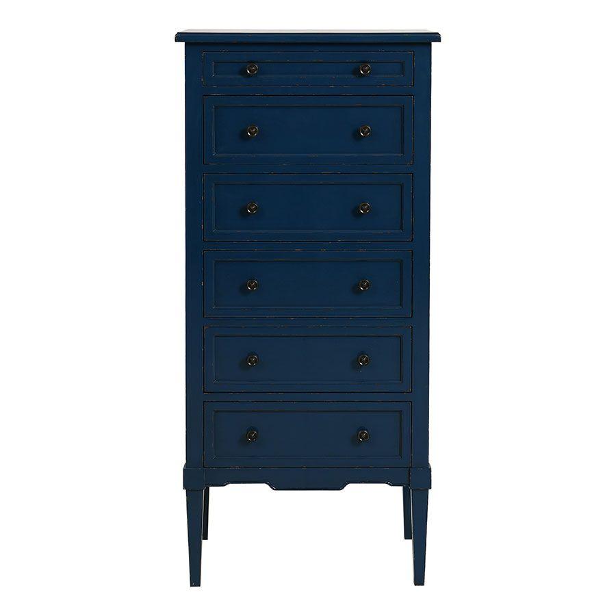Commode chiffonnier bleu saphir 6 tiroirs