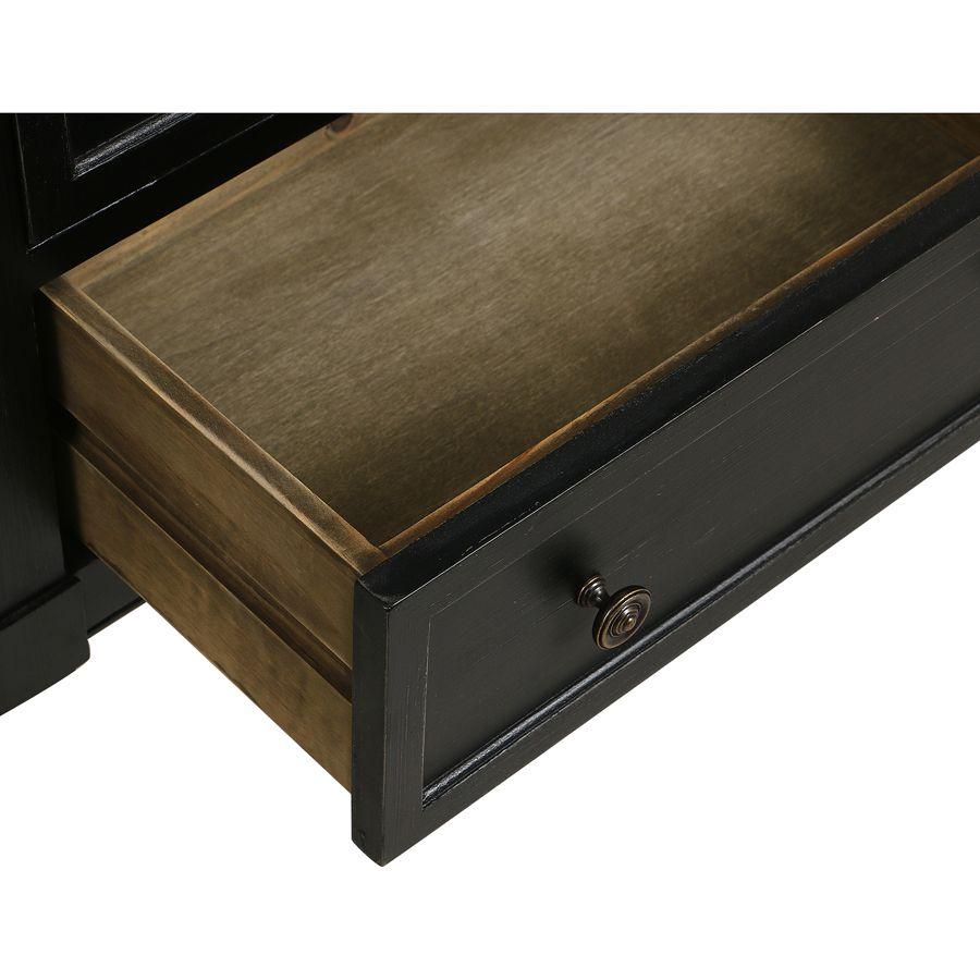 Commode chiffonnier 6 tiroirs noir graphite patiné