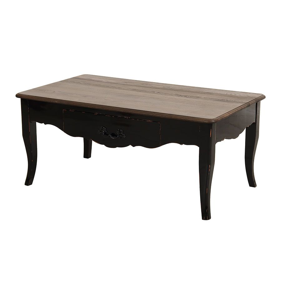 Table basse rectangulaire 1 tiroir noir graphite glossy