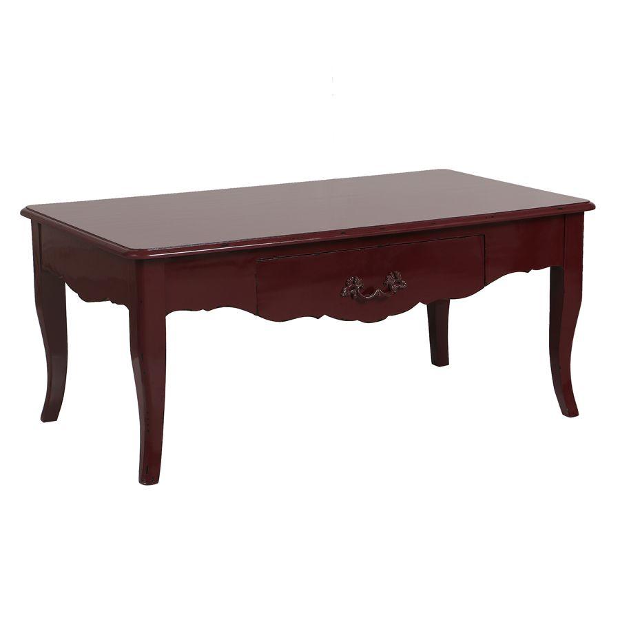 Table basse rectangulaire 1 tiroir lie de vin glossy
