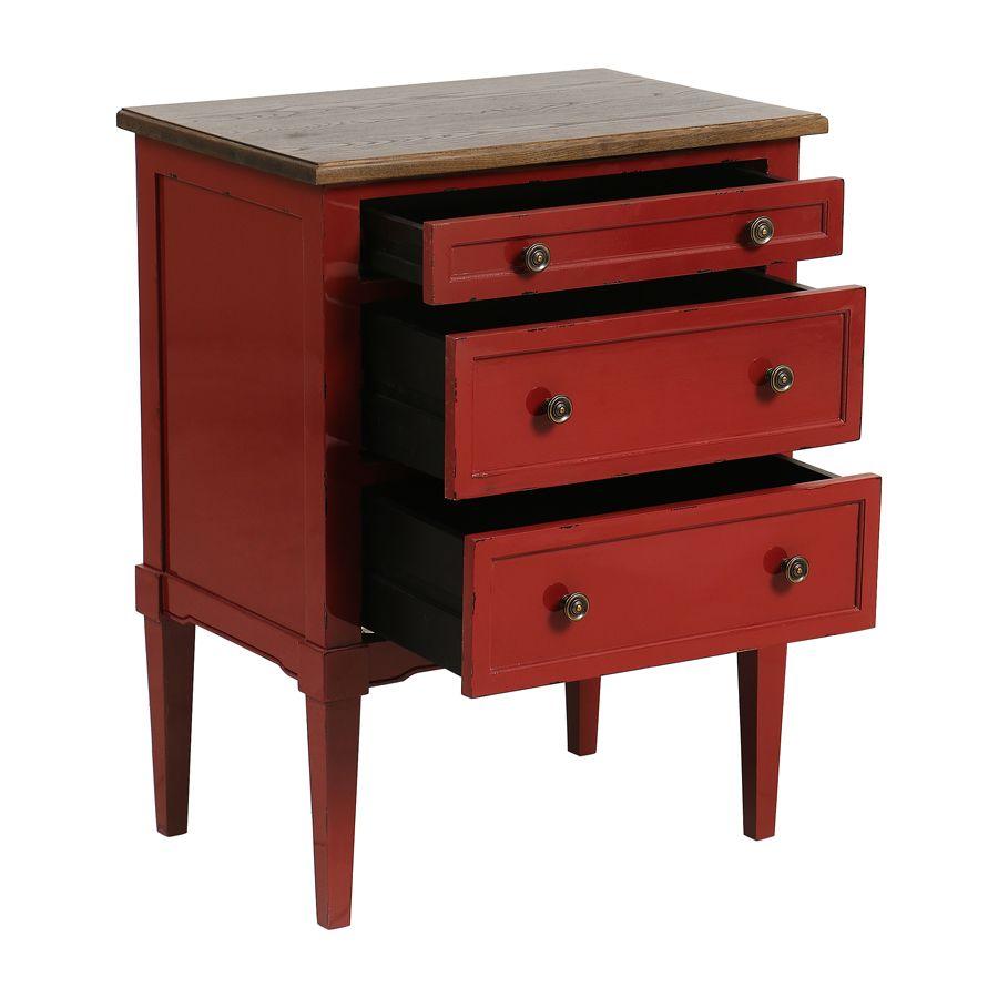 Petite commode 3 tiroirs en épicéa rouge Séville et plateau bois