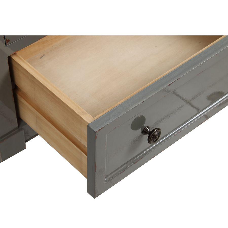 Petite commode 3 tiroirs vert de gris glossy