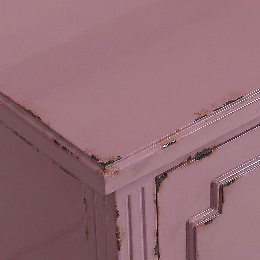 Commode sauteuse 2 tiroirs en épicéa lilas