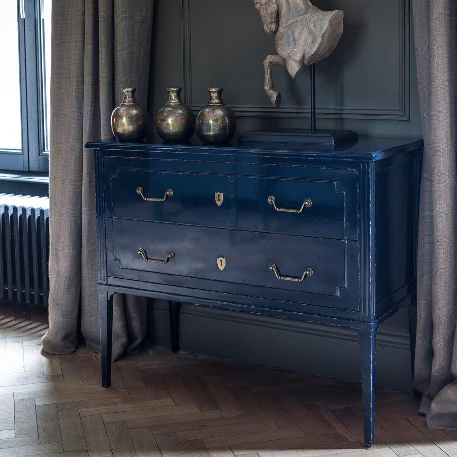 Commode sauteuse 2 tiroirs en épicéa bleu indigo