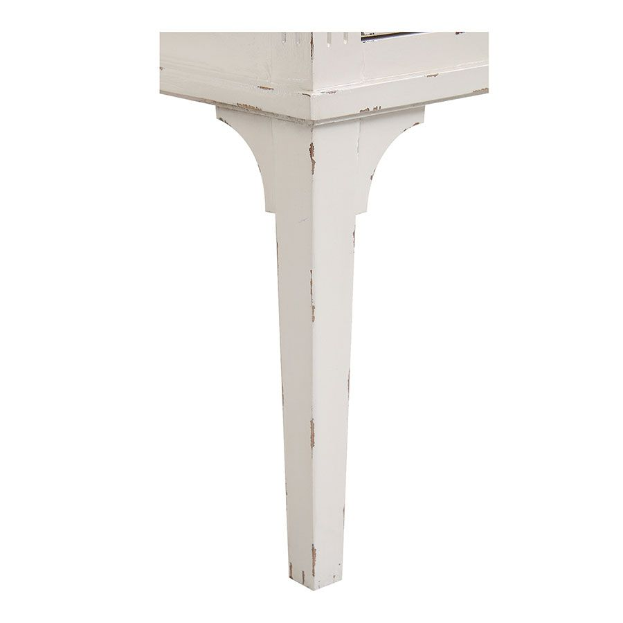 Commode sauteuse 2 tiroirs en épicéa blanc nacré