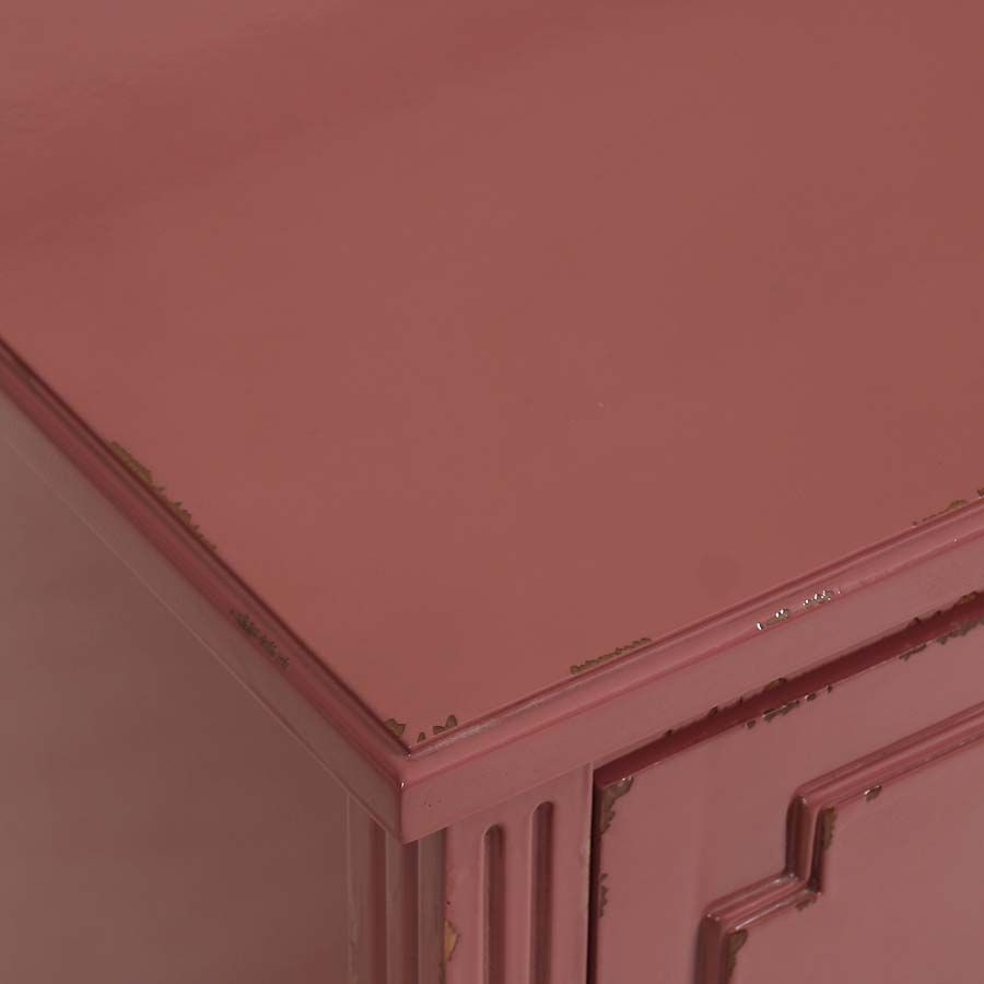 Commode rose 2 tiroirs en pin